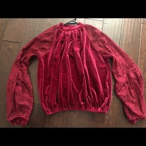 Free people velvet and lace xsmall top